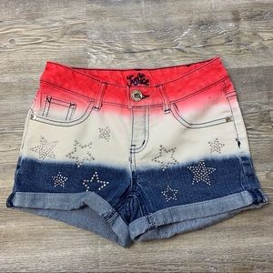 Justice Red White & Blue Rhinestone Shorts SZ   8